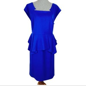 LANE BRYANT ll Royal Blue Peplum Cap-Sleeve Dress